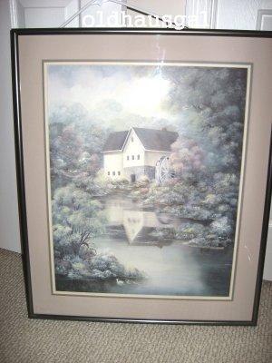 "Indiana Artist Linda Bennett  Art Print ""JEFFERSON MILL"" Framed Signed/Numbered"
