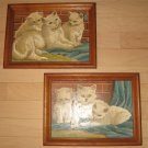 "2 Vintage Oak Framed Paint By Number Oils ""Fluffy Kittens Cats"""