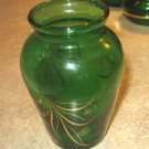 SALE! 6 Vintage Anchor Hocking Dark Green Small Bud Vase Handpainted Gold Floral Design