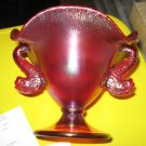 Fenton Ruby Amberina Glass Compote Dolphin Candy Dish