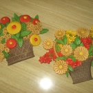 Vintage SYROCO Colorful Flower Basket Wall Hangings 1975 MADE IN USA