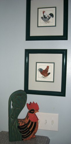 2 Linda Cullers Rooster Etchings Prints Signed/Numbered Framed