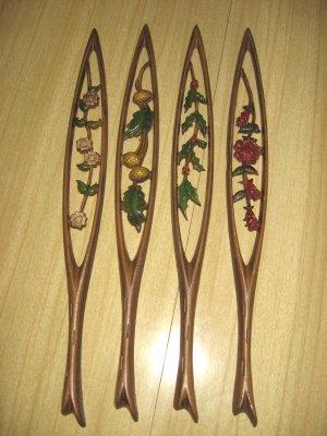 Vintage Sexton USA Ornamental Floral Metal Wall Hangings Set of 4
