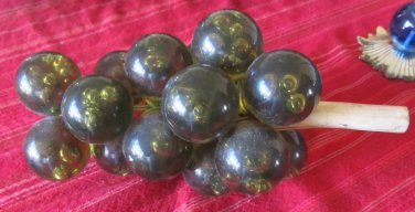 Vintage 1960s Acrylic Lucite Grape Clusters on Wood Olive Green