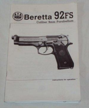 Beretta 92FS Pistol Instruction Operations Booklet