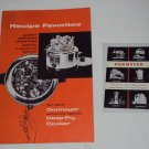 Vintage Dormeyer Deep-Fry Cooker Instructions/Recipes