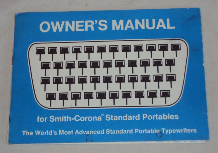 Smith-Corona Standard Portable Typewriter Owners Manual