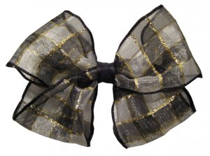 Sheer black and golden hair bow