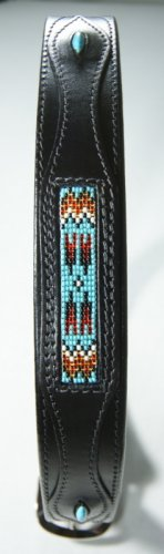 New Western Beaded Black Leather Belt w/Turquoise 620T - FREE US SHIPPING