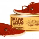 """New Taos """"Indian Maid"""" Moccasins w/ Button Rust White 2068w - FREE US SHIPPING"""