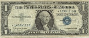"""Series1957 A One Dollar Silver """"Star"""" Certificate"""