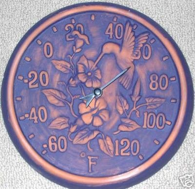 Garden Patio Terra Cotta Hummingbird Thermometer