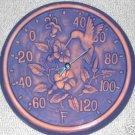 Garden Patio Terra Cotta Hummingbird Thermometer