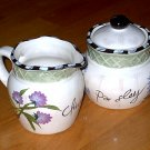 Herb Garden Creamer and Sugar Bowl