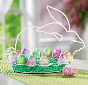Easter Bunny Shaped Metal Egg Display Holder