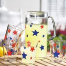 Patriotic Stars Beverage Pitcher & Glasses Set