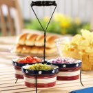 Patriotic Stoneware Condiment Set With Caddy