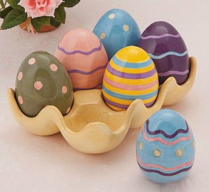 Egg Crate Dish With Easter Eggs
