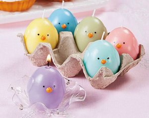 Easter Chick Candles In Egg Crate