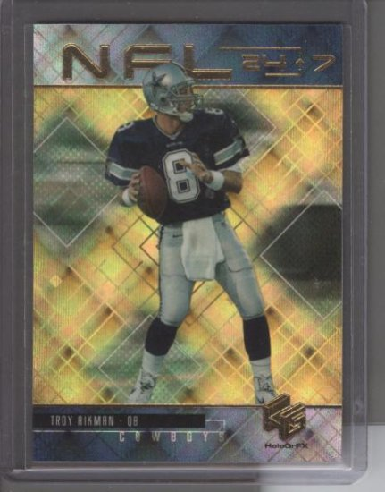 Troy Aikman 1999 UD HoloGrFx 24/7 GOLD Card
