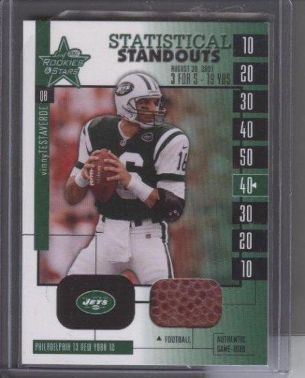 Vinny Testaverde '04 Leaf rookies & stars 'Game-used Ball Card