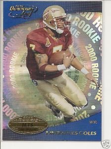 Laveranues Coles 2000 Quantum Leaf ROOKIE card