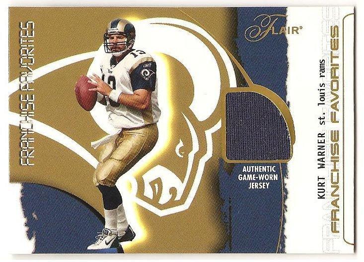 Kurt Warner '02 Flair Franchise Favorite Jersey Card