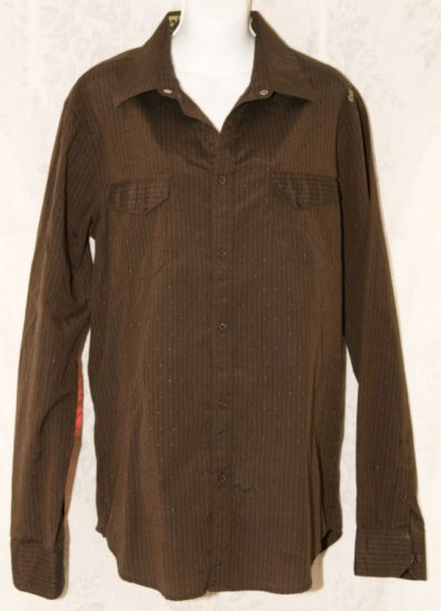 Hurley Brown Mens Long Sleeve Button Down Front Shirt