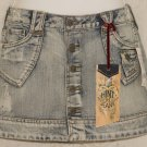Hint H Blue Jean Denim Mini Skirt Distressed - New With Tags  size 3