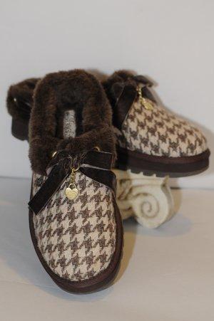Skechers Brown Faux Fur  Herringbone Slippers Size 10 New