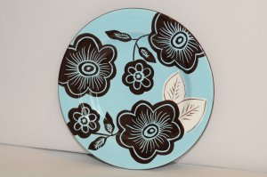 Laurie Gates Ware Blue Brown Floral Round Salad Luncheon Plate EUC