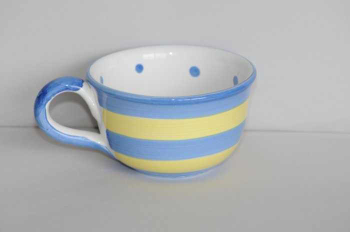Bath & Body Works Blue & Yellow Stripes & Dots Mup Cup