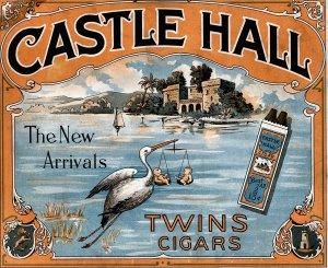 Vintage Print Reproduction Castle Hall Cigar Ad