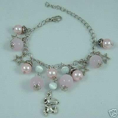 Rose Quartz Bracelet with Matching Earrings Snoopy