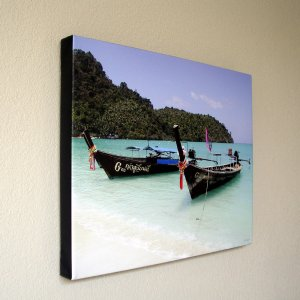 Longtails/Boats on Phi Phi Island Thailand 16 x 20 in. Gallery Wrap Canvas Print