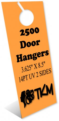 2500 Door Hangers 14PT Double Sided UV Coated Full Color Custom