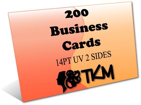 200 Business Cards 14PT Double Sided UV Coated Custom
