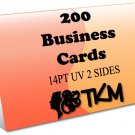 200 Business Cards 14PT Double Sided UV Coated Custom