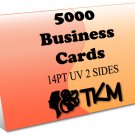 5000 Business Cards 14PT Double Sided UV Coated Custom