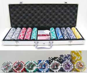 13.5g 500pc High Roller Clay Poker Chips w/ Laser Effects