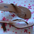 Mossimo Brown Leather High Heesl Size 10 Thongs Womens Shoes Sandals Sz 10