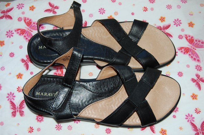 New Maravilla Alex Black Leather Size 10 W Comfort Sandals Womens Shoes