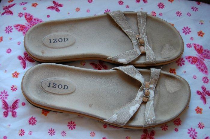 Izod Flip Flop Tan Sandals Mens Size 11 Womens Size 12 Shoes