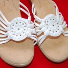 Softspots White 9 Wedge Sandals Slides Womens Shoes