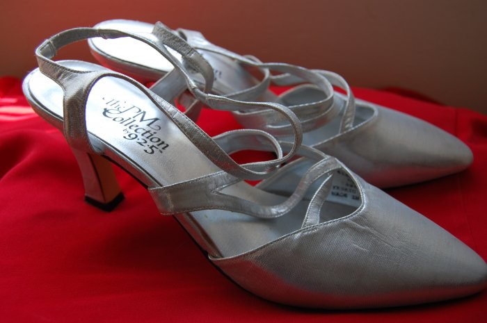 Vintage 80s Sz 10 Silver PM 925 High Heel Pumps Womens Shoes