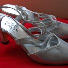 Vintage 80s Sz 10 Silver PM 925 High Heel Pumps Womens Shoes