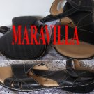 Maravilla Sz 11 W Brenna Black Leather Comfortable Womens Buckle Sandals New