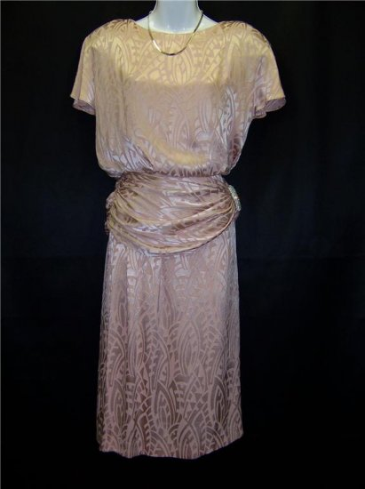 Vintage 70s 80s Rhinestone Banded Peach Womens Cocktail Dress Size 4