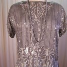 Vintage Sequin Beaded 70s Slouch Silk Top Shirt Blouse Womens Size Med M