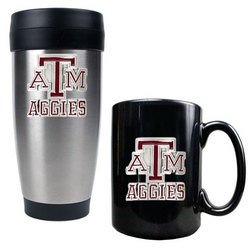 NCAA Stainless Travel Tumbler And Ceramic Mug Set - Texas A&M